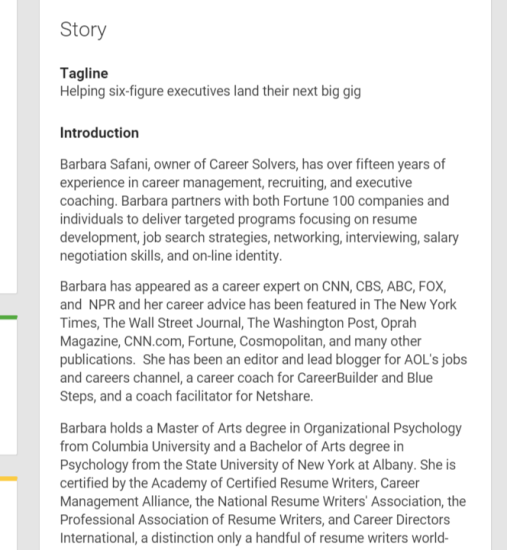 G Profile. Career Management Resume ...