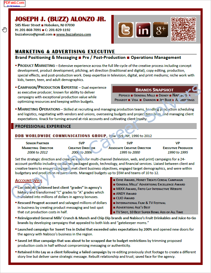 resumes  u0026 self-marketing collateral