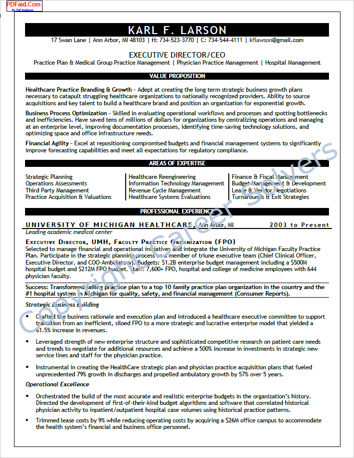 Career Solvers Resume Sample Healthcare Executive